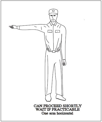 A graphic depicting the body signal to use when can proceed shortly. One arm horizontal.
