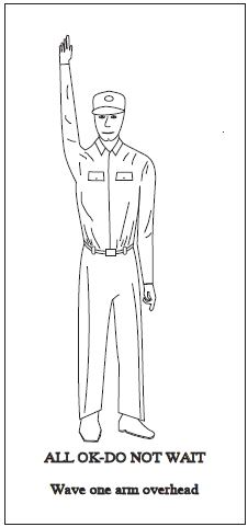 A graphic depicting the body signal to use when all OK. Wave one arm overhead.