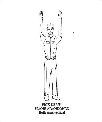 A graphic depicting the body signal for pick us up - plane abandoned. Both arms vertical.