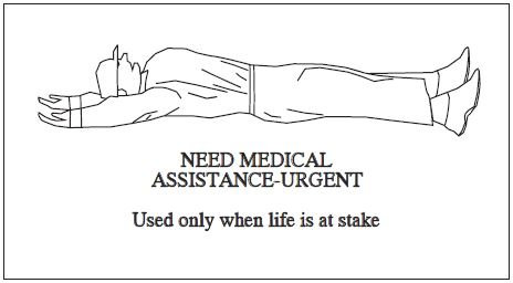 A graphic depicting the body signal to use when urgent medical assistant is needed. Used only when life is at stake.
