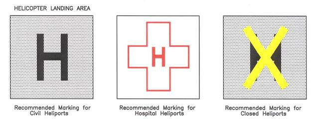 A graphic depicting the markings to identify a helicopter landing areas. this includes the recommended marking for civil heliports, hospital heliports, and closed heliports.