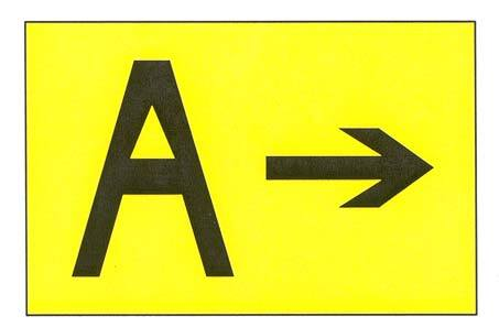 A graphic depicting a direction sign for a runway exit.