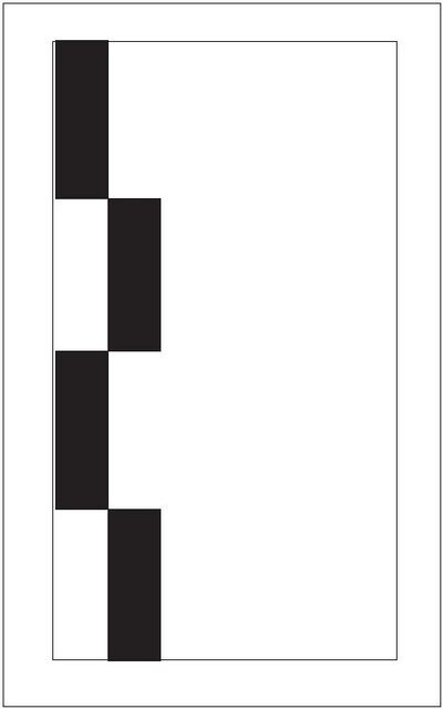 A graphic depicting white zipper markings used in lieu of solid lines to delineate the roadway edge.