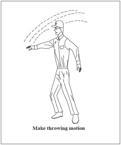 A graphic depicting the body signal for drop message. Make throwing motion.