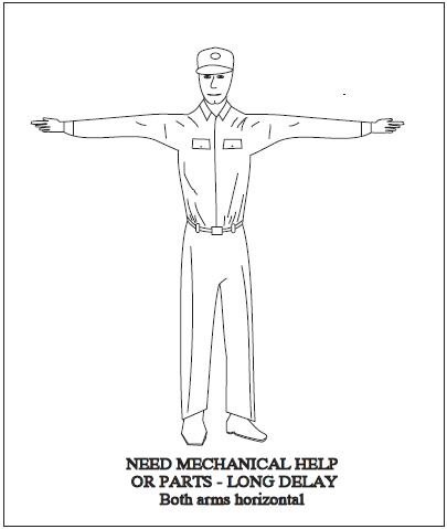 A graphic depicting the body signal to use when there is a long delay (need mechanical help or parts). Both arms horizontal.