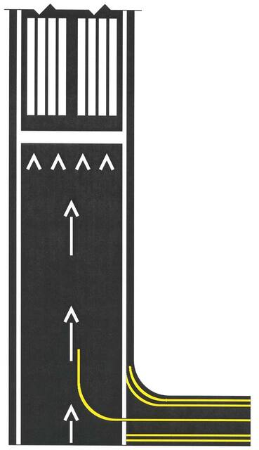 A graphic depicting displaced threshold markings on a runway.