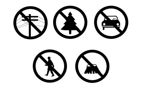 A graphic depicting landing zone hazards such as people, vehicles, trees, poles and wires, and stumps and brush.