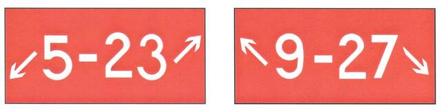 A graphic depicting the holding position sign for a taxiway that intersects the intersection of Two Runways.