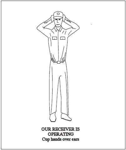 A graphic depicting the body signal for our receiver is operating. Cup hands over ears.