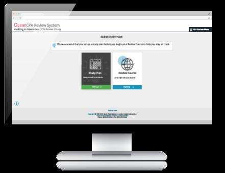 Demo screen for Gleim CPA Review Course