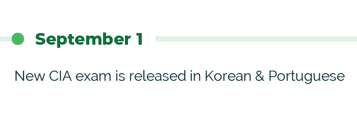 September 1: New CIA exam is released in Korean & Portuguese