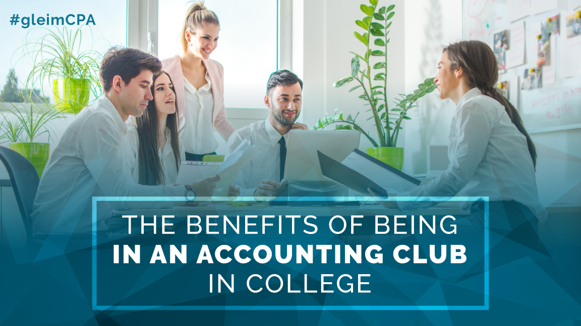 Group of college students preparing for an accounting club presentation