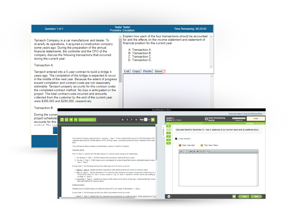 old and new CMA exam Prometric interface screens