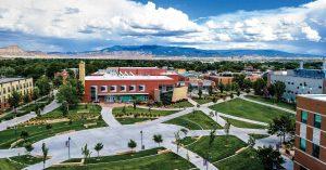 Aerial view of Colorado Mesa University, Grand Junction, Colorado.