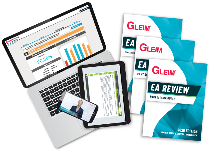 A laptop featuring our Enrolled Agent demo, with a phone and tablet on different screens alongside 3 books featuring our Premium Enrolled Agent Review System