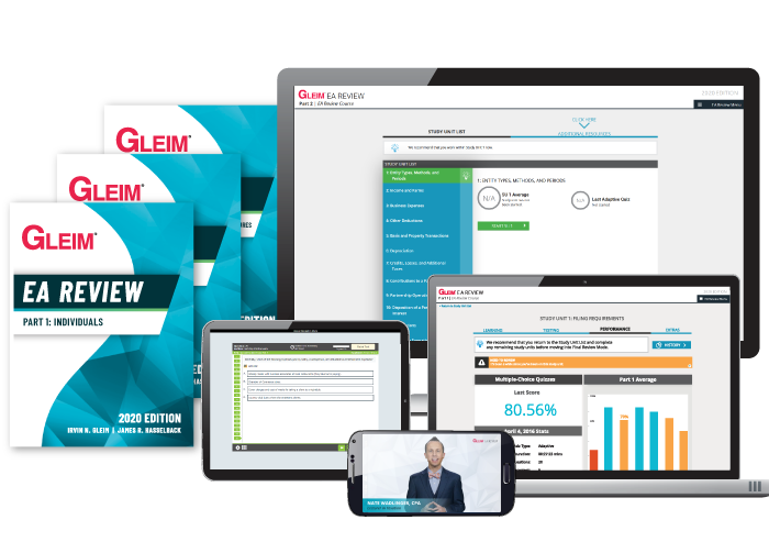 Gleim Premium Enrolled Agent Review Course, highlighting the Gleim Instruct Videos, the SmartAdapt System, the Study Planner, physical books, and exam-like quizzes.