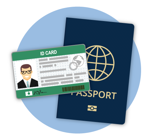 Identification card with photo and passport for identification CIA exam requirement