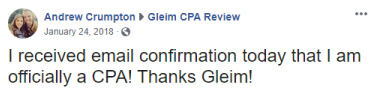 """Facebook post from Andrew Crumpton: """"I received my email confirmation today that I am officially a CPA! Thanks Gleim!"""""""