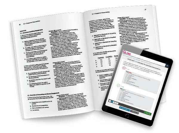 Gleim questions in print and on a tablet