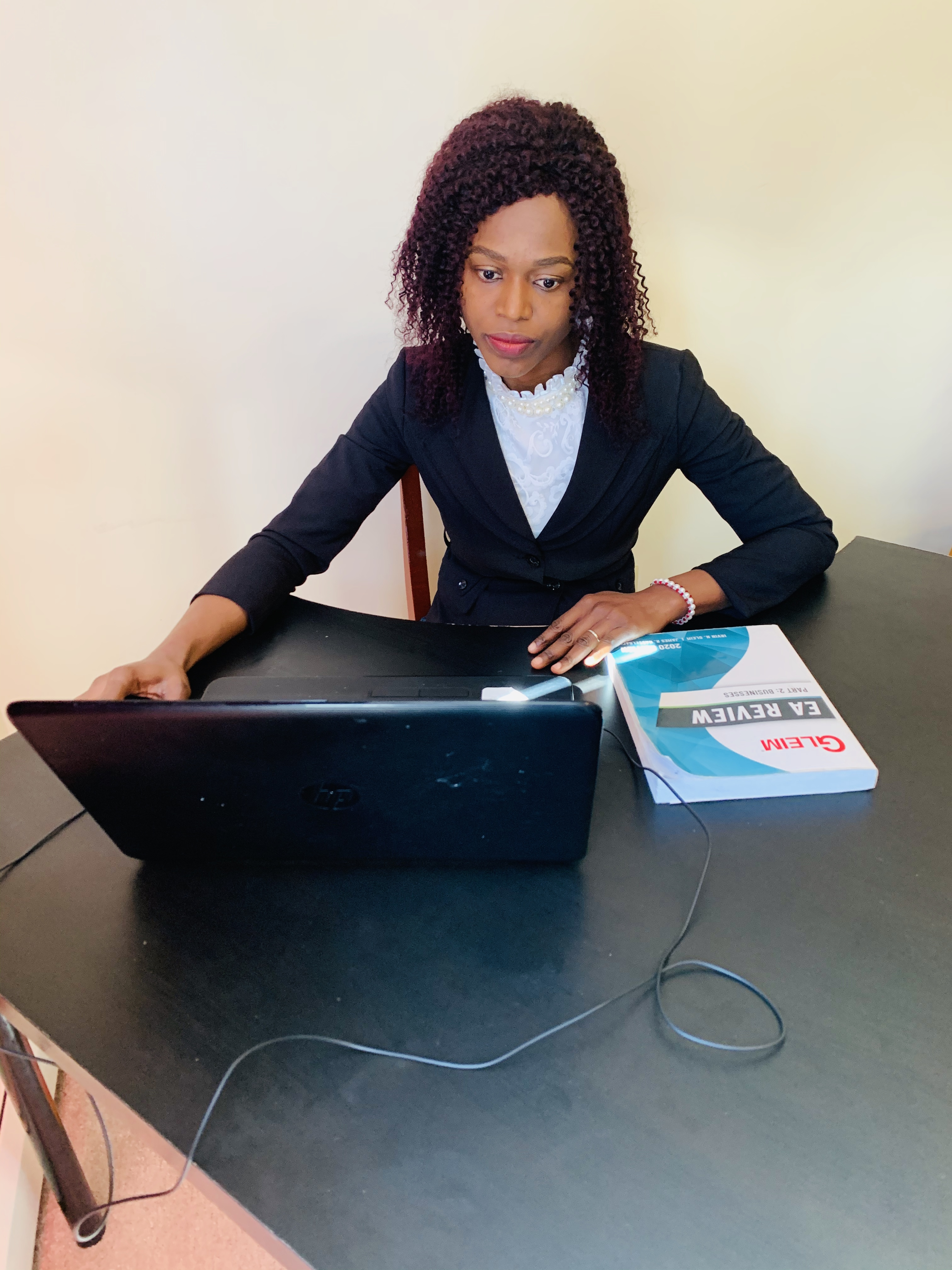 Florence Obijiofor studying for the EA exam