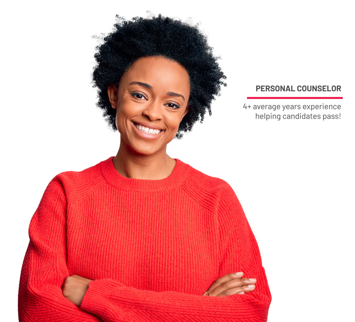"Photo of smiling woman with text ""Personal Counselor. 4 plus average years experience helping candidates pass!"" showing another reason why Gleim is the best CMA review provider."