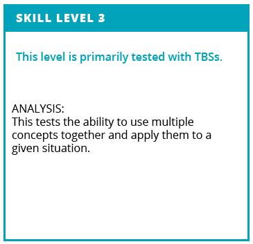 Skill Level 3. This level is primarily tested with TBSs. Analysis: This tests the ability to use mulitple concepts together and apply them to a given situation.