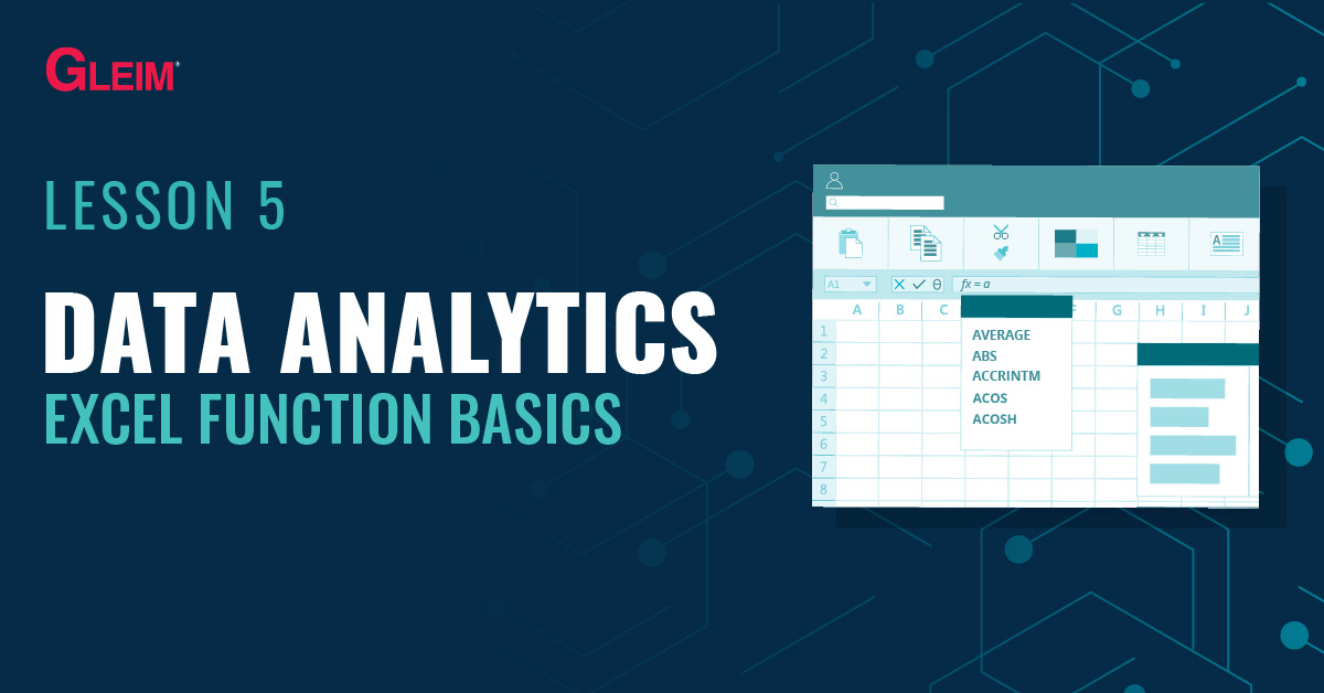 Data Analytics Lesson 5: Excel Function Basics