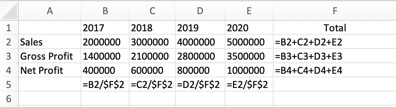 """Cell references C5, D5, and E5 fixed by adding a """"$""""."""