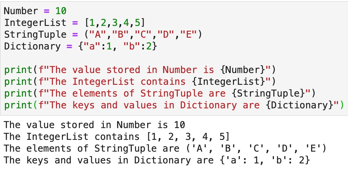 An example of how fstrings can be used to make code easier to read and use for data analytics.