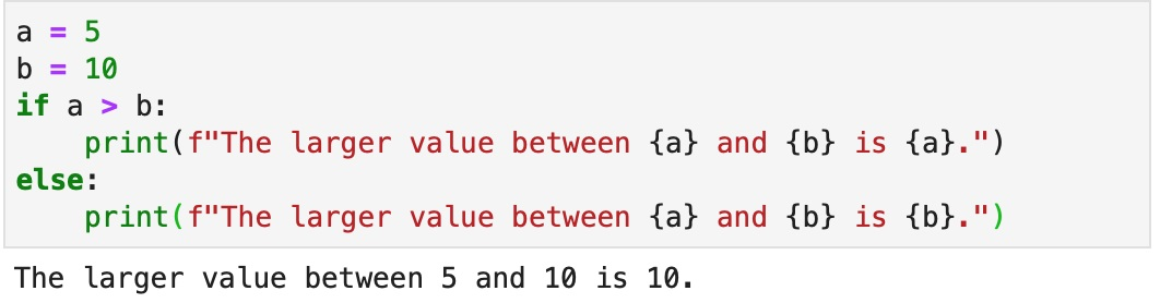 Using an if-else statement and fstrings to give context on variables.