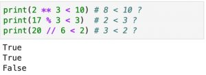 Three examples of using the less than operator.