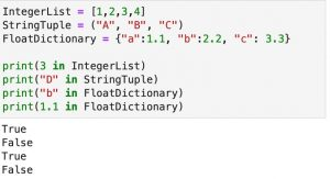 """An example of using the """"in"""" operator to see if a variable is in a list, tuple, or dictionary."""