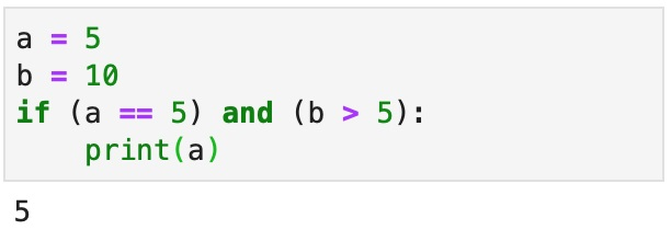 An example of a conditional statement used to print a variable.